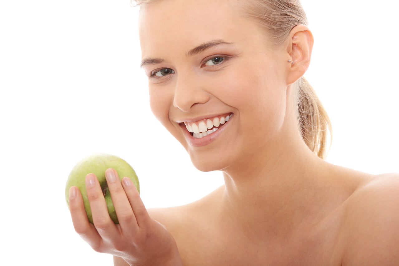 Healthy Woman with Green Apple